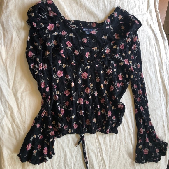 Black with pink flowers crop top LS blouse.